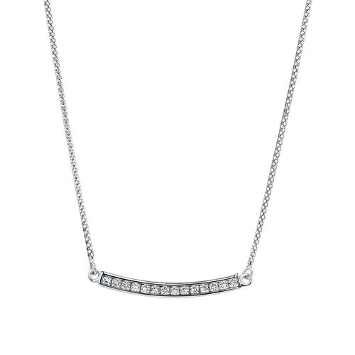 Adjustable Bar Necklace with White Cubic Zirconia in Sterling Silver