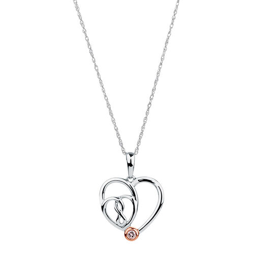 Infinitas Pendant with a Natural Pink Diamond in 10kt Rose Gold & Sterling Silver