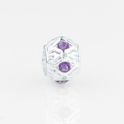 Online Exclusive - Patterned Charm with Amethyst & Diamonds in Sterling Silver