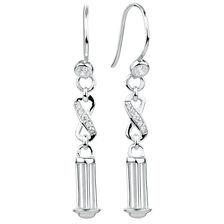 Cubic Zirconia & Sterling Silver 37mm Charm Drop Earrings