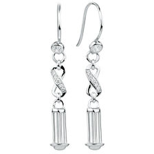 Cubic Zirconia & Sterling Silver 37mm Charm Drop Earrings