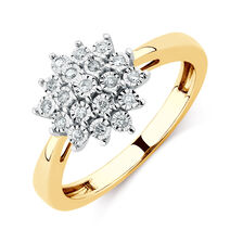 Engagement Ring with Diamonds in 10ct Yellow & White Gold