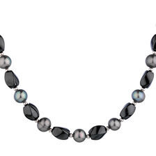 Necklace with Hematite & Cultured Freshwater Pearl with Sterling Silver Clasp