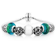 Green Glass & Sterling Silver Charm Bracelet