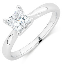 Evermore Colorless Solitaire Engagement Ring with a 1 Carat Diamond in 14kt White Gold