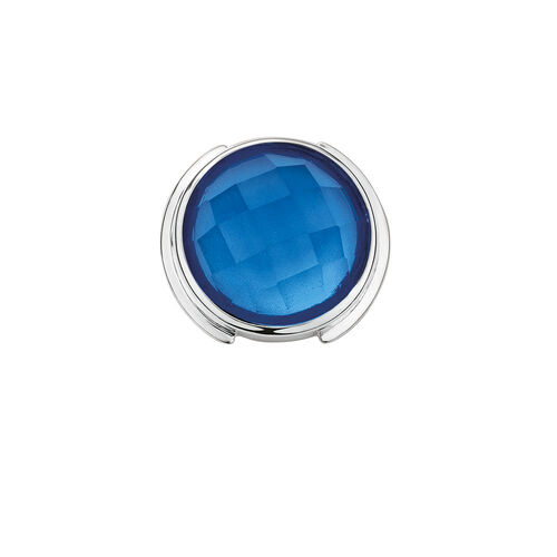 Mini Coin Locket with Blue Glass in Sterling Silver