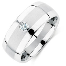 Men's Diamond Set Ring in White Tungsten