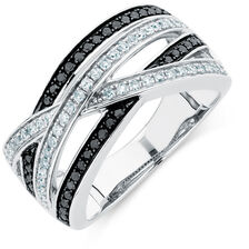 City Lights Ring with 1/2 Carat TW of White &  Enhanced Black Diamonds in Sterling Silver