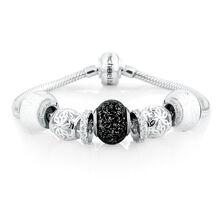 Black & White Glass & Sterling Silver Starter Charm Bracelet