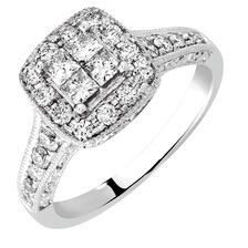 Engagement Ring with 0.82 Carat TW of Diamonds in 14kt White Gold