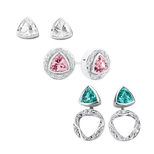 Stud Earrings & Earring Enhancer Set with Cubic Zirconia in Sterling Silver