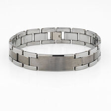 Men's Link Bracelet in Brushed & Polished Tungsten