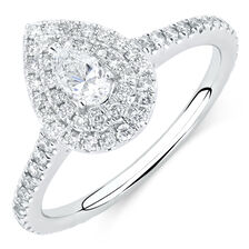 Michael Hill Designer Arpeggio Engagement Ring with 0.87 Carat TW of Diamonds in 14kt White Gold