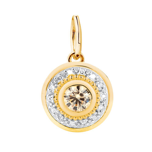 Dangle Charm with Champagne Cubic Zirconia in 10ct Yellow Gold