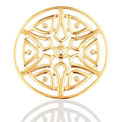 Diamond Set 10ct Yellow Gold Aztec Flower Coin Pendant Insert