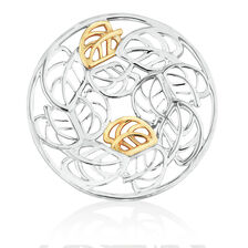 Leaf Pattern Coin Pendant Insert in Sterling Silver & 10ct Yellow Gold