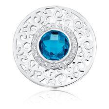 Aqua Cubic Zirconia & Sterling Silver Coin Pendant Insert