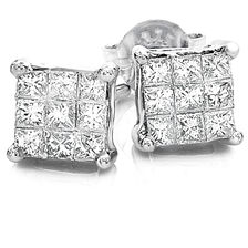 Cluster Stud Earrings with 1/4 Carat TW of Diamonds in 10ct White Gold