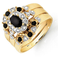 Ring with Sapphire & Diamonds in 10kt Yellow Gold