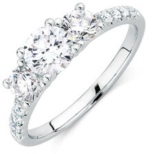 Evermore Colourless Engagement Ring with 1 1/2 Carat TW of Diamonds in 14kt White Gold