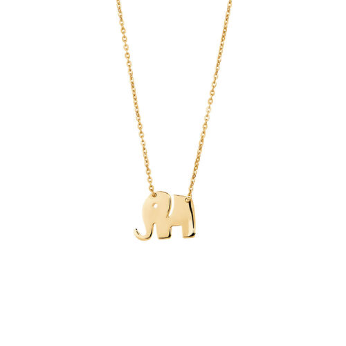 Mini Elephant Necklace in 10ct Yellow Gold