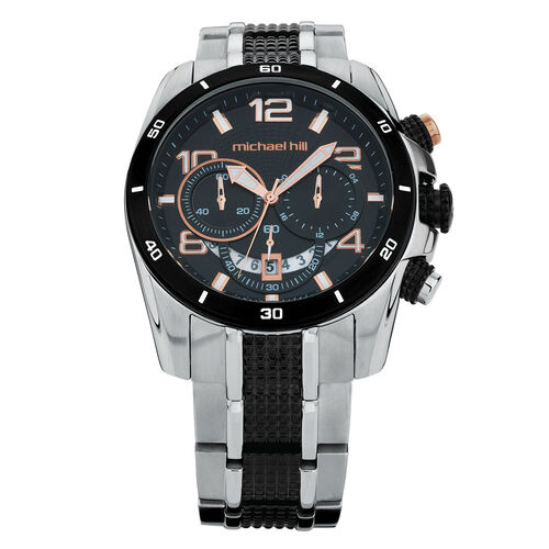 Men's Chronograph Watch in Rose, Black & Silver Stainless Steel