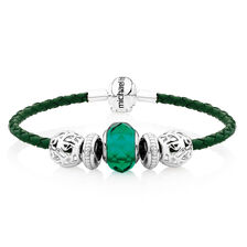 Sterling Silver & Green Leather Charm Bracelet