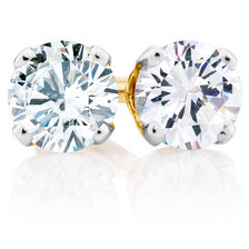 Stud Earrings with 0.20 Carat TW of Diamonds in 10ct Yellow Gold