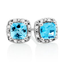 Stud Earrings with Blue Topaz & Diamonds in 10ct White Gold