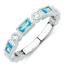 Stacker Ring with Blue & White Cubic Zirconia in Sterling Silver