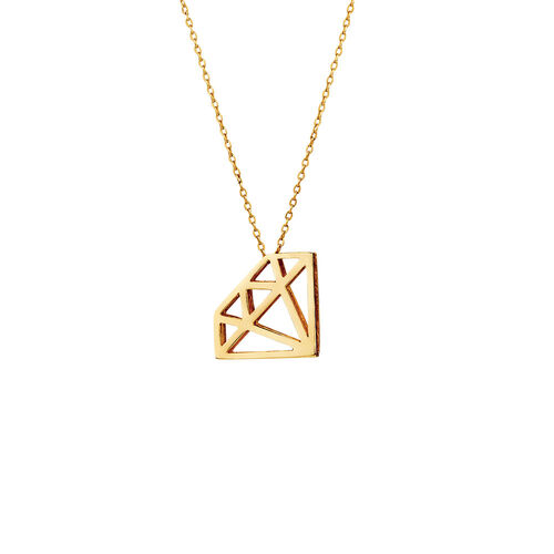 Diamond Shape Pendant in 10kt Yellow Gold