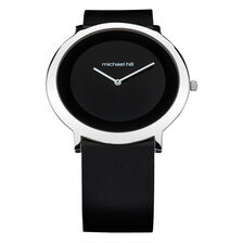 Ladies Watch in Stainless Steel & Black Leather