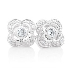 White Cubic Zirconia & Sterling Silver Stud Earrings with Quatre Enhancers