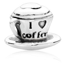 Sterling Silver 'I Love Coffee' Charm