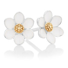 White Enamel, Sterling Silver & 10ct Yellow Gold Daisy Stud Earrings