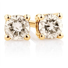 Stud Earrings with a 1/4 Carat TW of Diamonds in 10ct Yellow Gold