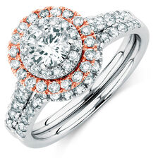 Bridal Set with 1 1/2 Carat TW of  Diamonds in 14kt White & Rose Gold