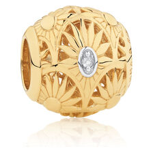 Diamond Set Flower Pattern Art Deco Charm in 10ct Yellow Gold