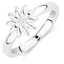 Silver Flower Stack Ring