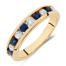 Ring with Sapphire & 1/2 Carat TW of Diamonds in 10kt Yellow Gold