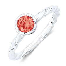 July Stacker Ring with Bright Red Cubic Zirconia in Sterling Silver