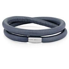 "Slate Leather 41cm (16.5"") Wild Hearts Double Wrap Bracelet"