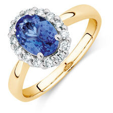 Ring with Tanzanite and 1/4 Carat TW of Diamonds in 10ct Yellow and White Gold
