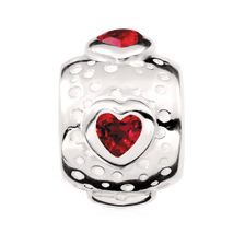 Created Ruby & Sterling Silver Heart Charm