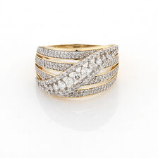Online Exclusive - Twist Ring with 1 Carat TW of Diamonds in 10ct Yellow Gold