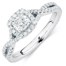 Michael Hill Designer Adagio Engagement Ring with 1 1/5 Carat TW of Diamonds in 14kt White Gold