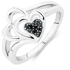 Online Exclusive - Ring with Enhanced Black Diamonds in Sterling Silver