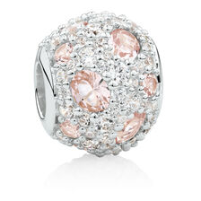 Charm with Pink Crystal & White Cubic Zirconia in Sterling Silver