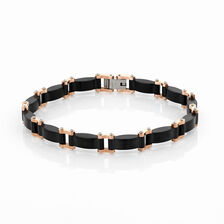 Online Exclusive - Men's Bracelet in Rose Tone & Black Stainless Steel