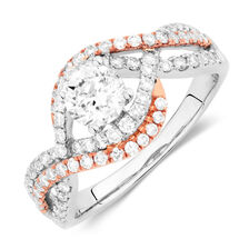 Bridal Ring with 1.33 Carat TW of Diamonds in 14kt White & Rose Gold